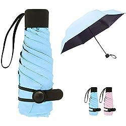 Queta Mini Paraguas Plegable para Mujeres Portátil con Longitud 18 Centímetros 6 Costillas Grueso Negro Tela de Goma Anti Ultravioleta y Viento para Actividades al Aire Libre (Azul)