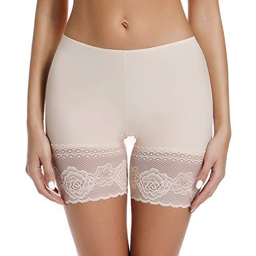 Joyshaper Damen Unterhose Unter Rock Kurze Hose Kurze Panty Tight Shorts Sicherheit Shorts Nahtlose Unterwäsche mit Anti-Rutsch Spitzenrand, Beige, S