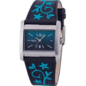 Kahuna Women's Quartz Watch with Blue Dial Analogue Display and Black Plastic Strap