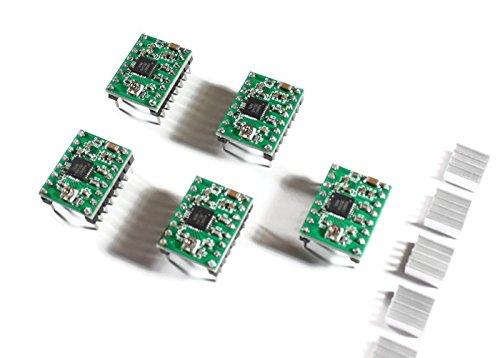5x A4988 Schrittmotor-Treiber-Modul mit Kühlkörper, z.B. für RAMPS 1.4, CNC-Shield, 3D Drucker, Prusa - Treiber-unterstützung