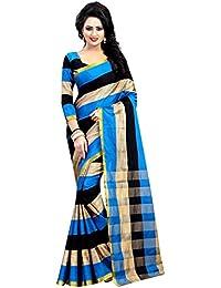 HNC Retail® Printed Blue & Beige Cotton Silk Saree
