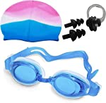 SADPAVISPO Unisex Combo of Silicone Swimming Cap, Goggles and Ear Plug, (Colour may Vary)
