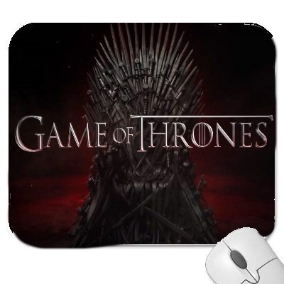 A Game Of Thrones Mouse Mat with a picture of the Iron Throne Premium Quality Thick Rubber Mouse Mat Pad Soft Comfort Feel Finish