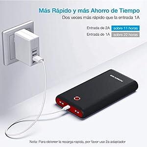 [Versión Mejorada] Poweradd Pilot X7 20000mAh Power Bank Cargador Móvil Portátil Batería Externa con 2 Salidas USB 3.1A para iPhone iPad Samsung Dispositivos Android Tablets y Más, Color-Negro y Rojo