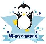 Samunshi® Baby Pinguin Aufkleber mit Namen Autoaufkleber Namensaufkleber Kinder in 7 Größen (20x17,5cm Mehrfarbig)