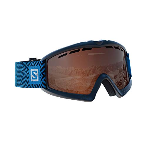 Salomon Kiwi Skibrille, für Kinder (3-6 Jahre), für sonniges Wetter, orangefarbene Scheibe mit Spiegelbeschichtung (auswechselbar), Airflow System, schwarz, L39910800