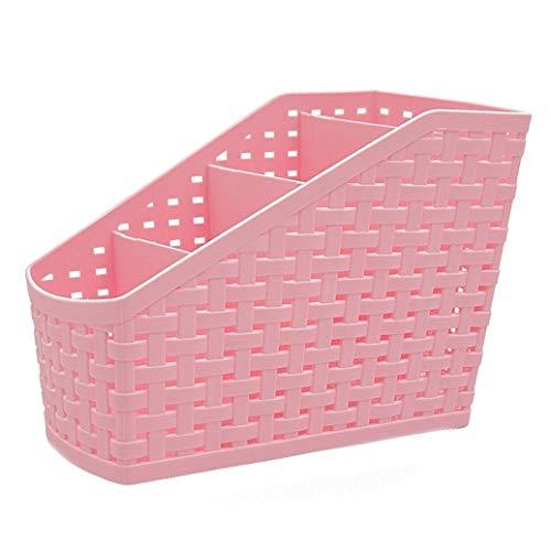 Missoul Multi-Function Plastic 4 Grid Sub-Grid Desktop Storage Organizer Box (Pink) (Box 32 Plastic Liter Storage)