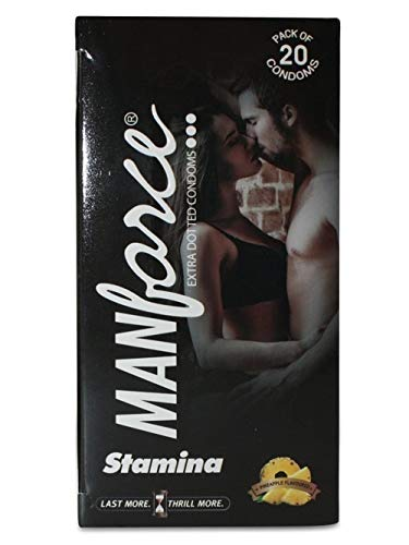 Manforce Stamina Condoms (Extra Dotted), Pineapple Flavoured- 20 Pieces