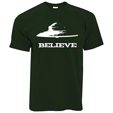 Croyez-espace Alien UFO soucoupe volante Nerd Geek science Sci-Fi T-Shirt Pour Hommes