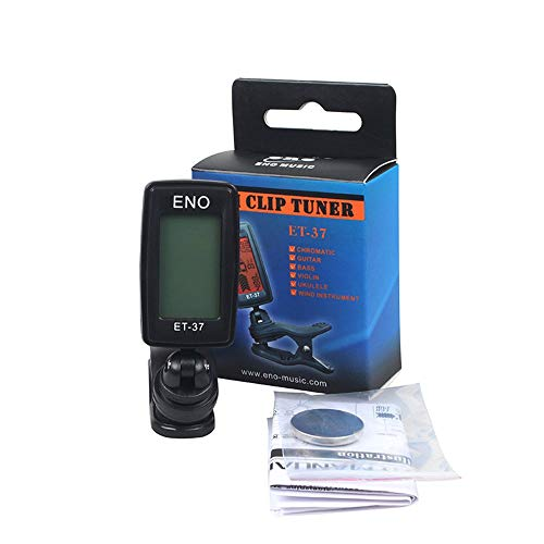BFHCVDF Sintonizzatore Automatico per Chitarra Sintonizzatore elettronico Digitale Accordatore LCD Schermo ENO ET-37 Nero