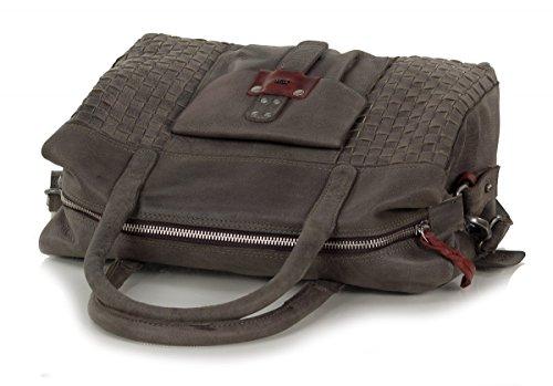 Rofu sac à main dames - sac à bandoulière en cuir souple vintage (33 x 21 x 14 cm) gris
