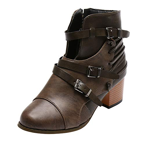 (MYMYG Damen Reißverschlus Ankle Boots Frauen-Platz Ferse Schnalle Leder Stiefel Stiefel Schuhe Round Toe Boot Chelsea Boots Ankle Boots mit Halbhohe Blockabsatz)