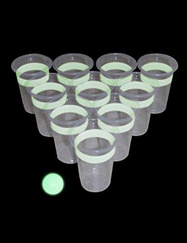 #Leuchtendes Beer Pong Party Trink Spiel 24 teilig weiss transparent#