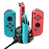 Molyhood 7 in 1 Charging Dock for Nintendo Switch with 4 charging output ports and 3 USB 2.0 charge ports, Joy- Con Charging Stand with Individual LED Indicators