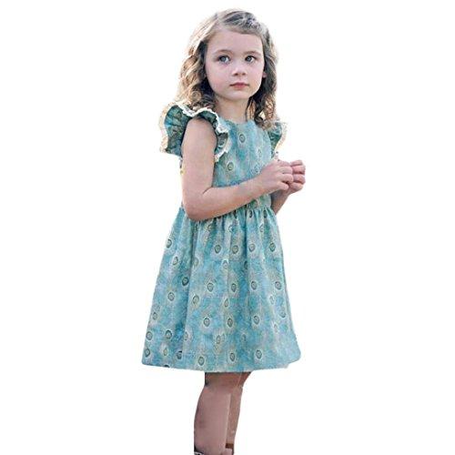 sommer Retro bunt Pfau Feder druck kleider Mädchen baby locker t-shirt Herrlich kleid Kleinkind prinzessin süße party kleidung,1-6 Jahren (2 Jahren, Blau) (Kleinkind Mädchen Kostüm Pfau)