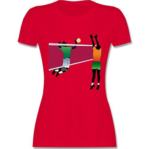 Volleyball Volleyballspieler Netz Angriff Verteidigung tailliertes Premium  TShirt mit Rundhalsausschnitt für Damen Rot