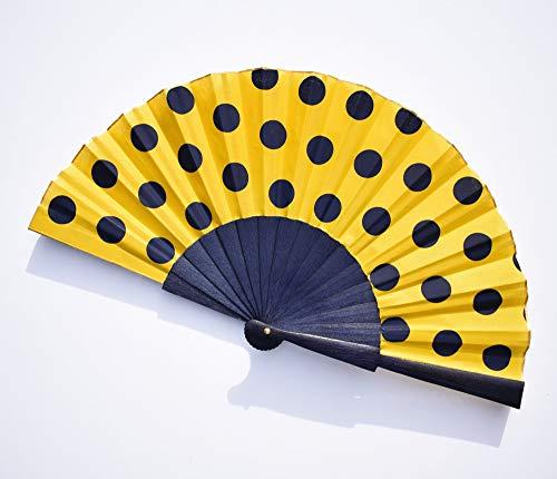 Abanico con lunares azules - fondo dorado - abanico artesanal