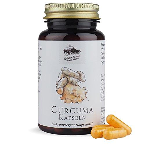 Curcuma Kapseln • 646 mg Curcumin pro Portion • hochdosiert • 60 Kapseln (1 Monatsvorrat) • mit Cholin und Piperin • OHNE Magnesiumstearat • Deutsche Premiumqualität • Kräuterhandel Sankt Anton