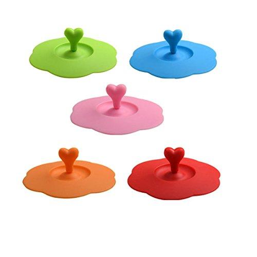 Schmutz Cup Griff (Set von 5Lebensmittelechtes Silikon Saugnapf Deckel Tasse, mit Herz Form Löffel Rührwerk Halterung für Cup-Größe innerhalb 9,9cm/10cm)