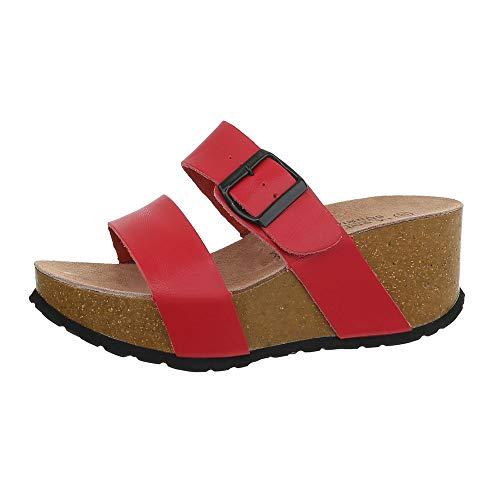 Ital-Design Damenschuhe Sandalen & Sandaletten Pantoletten Glattleder Rot Gr. (Das Kostüm Schrank)
