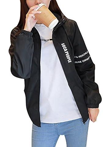 Minetom Damen Mode Windjacke Herren Übergangsjacke Freizeitjacke Windjacke Jacke Paar Mäntel Hiphop Streetwear Oberbekleidung Outwear Schwarz EU S Für