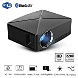 TLgf Tragbarer HD-Projektor (Upgraded Version), 2800 Lux LED 720P Mini Fashion Home Outdoor Projector, Support 4K Decoding, WiFi und Bluetooth,Black