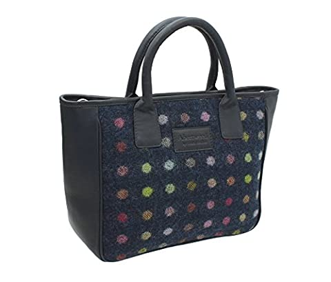 Mala Leather ABERTWEED Collection Leather & Tweed Grab Bag 728_40 Navy Spot