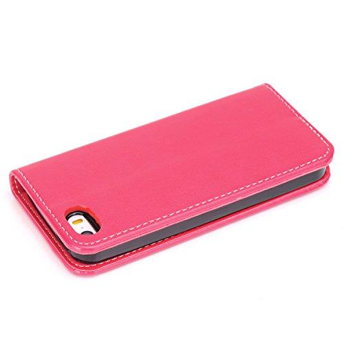 Cover iPhone 5 / 5S / SE,ToDo iPhone 5 / 5S / SE Custodia Pelle Premium PU 3D Stampata Folio Sottile Silicone Morbido Case ID Slot per Scheda Antigraffio Magnetico Flip Protettiva Invisibile Chiusura  rosso