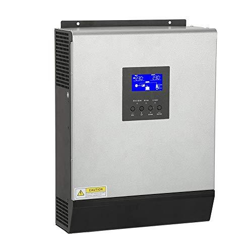 ASHATA Hybrid Wechselrichter, 3KVA 2400W Hochfrequenz Multifunktion Wechselrichter Umschalter,Reiner Sinus Wechselrichter Hybrid Inverter mit eingebautem Solarregler 50A 24V -