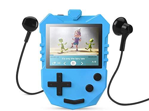 AGPTEK Kinder MP3 Player 8GB mit Lautsprecher, Musik Player mit 1.8 TFT Farbbildschirm, Sprachaufnahme, A-B Wiederholung und Spiele usw. unterstüzt bis zu 128GB Speicherkarte, Blau