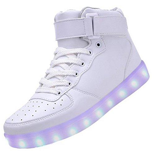 (present: Pequena Toalha) Junglest® 7 Cores De Carregamento Usb Led Brilhante Calçados Esportivos Calçado Desportivo De Alta Sneakers Tênis Superiores Para Conveniências Unissex Esperados Branco