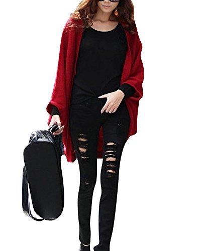 Mujer sección delgada chaqueta de punto Chal larga de la capa suelta Rojo