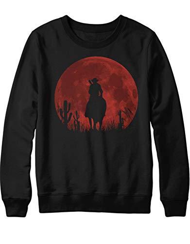 Cowboy Herren Sweatshirt (HYPSHRT Herren Sweatshirt Red Dead Cowboy Moon C000447 Schwarz M)