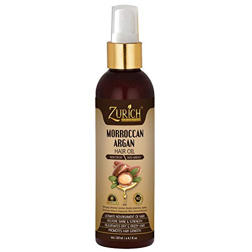 Zurich Morroccan Argan Hair Growth Oil With Pure Grapeseed,Jajoba,Rosemary, Jatamansi,Hibiscus,Vitamin E & Many More Natural Herbs -Multipurpose Hair Oil For Ultimate Hair Treatment-Non Sticky- 120ml