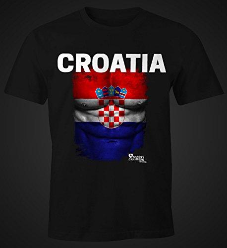 Herren T-Shirt - Fußball EM 2016 Croatia Kroatien Flagge Fan Waschbrettbauch - Comfort Fit MoonWorks® Schwarz