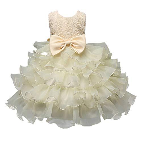 Vestito Elegante da Ragazza Festa Cerimonia Matrimonio Damigella Moda Pizzo Abiti  da Prima Comunione Carnevaleprom Tutu ea4cecadecb