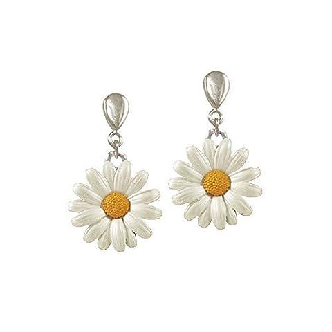 Weiß Emaille Silberfarben Daisy-tropfen Ohrclips