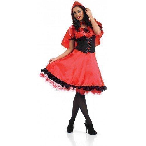 Damen Längere Länge Rotkäppchen Märchen Halloween Kostüm Kleid Outfit UK 8-26 Übergröße - Rot, Rot, 20-22