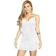 Nuevas señoras encaje blanco vestido de flecos & Sparkle Party Club wear summer wear tamaño L UK 12UE 40
