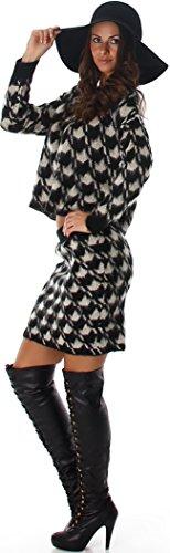 Voyelles Damen Zweiteiler Kombination Set Pullover & Rock Houndstooth Hahnentritt Einheitsgröße (34/36/38) Schwarz - Set