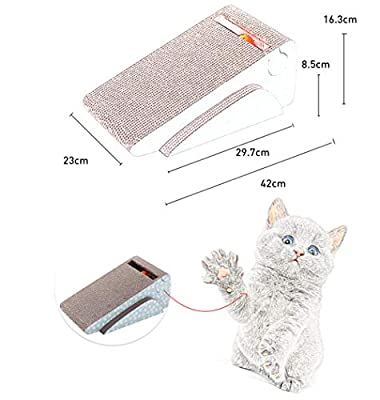 Ayuboom Cat Scratch Pad,Cat Scratcher Cardboard,Scratcher with Catnip,Scratching Posts,Cat Toy Scratching Board Lounge Set with Bell-Ball Cat Free Catnip (Irregular)