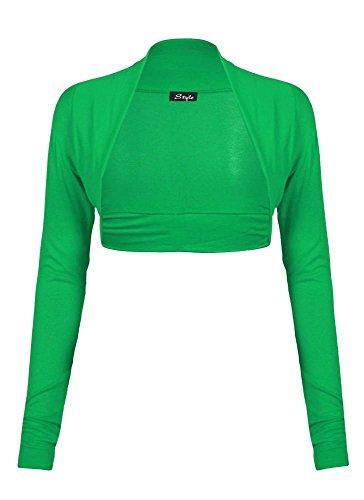 Damen Schulterzucken Plain langen Ärmeln Viskosejersey Bolero (Schulterzucken Grün)