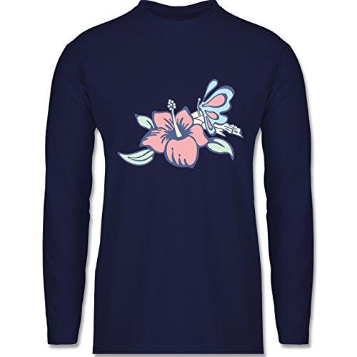 Shirtracer Blumen & Pflanzen - Blumen - Herren Langarmshirt Navy Blau
