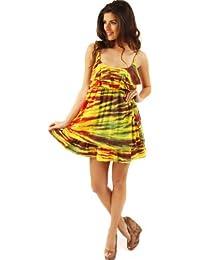 Ruby Rocks Dress Layered Frill Bust Batik Corrosion Jersey Mix Mini Dress