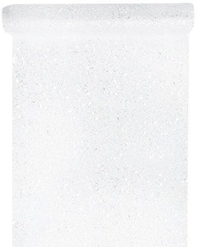 Vintage Weiße Tüll (Tischläufer Tüll Glitter 30cm x 5m weiß Tüllstoff Tischdecke Hochzeit Dekostoff Deko)
