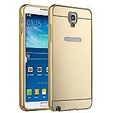 PANXIYUE Coque Samsung Galaxy Note 3 Neo Lite N750 N7505 Aluminium Miroir Coloris Or Etui Housse Bumper