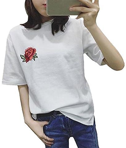 Minetom Col Rond Manche Courte Femme T-Shirt Tops Blouse Eté Casual Vrac Mode Doux Confortable Magnifiquement Broderie Rose Blanc FR