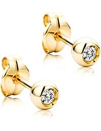 e4c4e832af23 Orovi - Pendientes para mujer con diamantes de oro amarillo solitario de 18  quilates (750