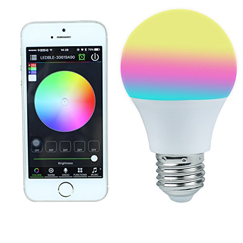 KAIPUZM Bluetooth Smart LED Light Bulb E27,16 Million Dimmable Colors, iOS and Android Compatible,Control by Smartphone or Tablet Mood Lighting for Home Bedroom Living Room Playroom, Restaurant, Hotel