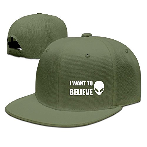 Nubia I Want To Believe Sunbonnet Krempe Snapback Cap Flat Bill Hat Schwarz, Herren, ForestGreen